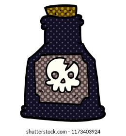 cartoon doodle poison in a bottle