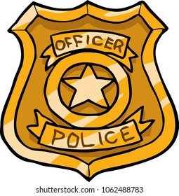 Cartoon doodle police badge on a white background vector illustration