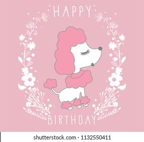 Cartoon doodle poodles isolated on pink background. Vector illustration of cute purebred dog.Happy birthday graphics.T-shirt print.