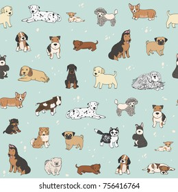 cartoon doodle puppy dog seamless vector hand drawn pattern