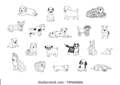 cartoon doodle puppy dog vector line illustrations set