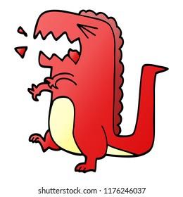 cartoon doodle roaring dinosaur