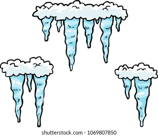 Cartoon doodle set of icicles on a white background vector illustration