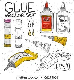 Cartoon doodle set tube of glue vector illustration.