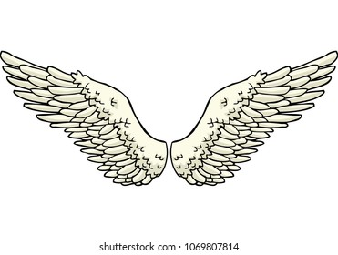 Cartoon doodle wings on a white background vector illustration