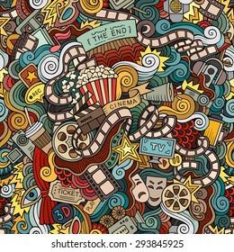 Cartoon doodles hand drawn cinema, movie, film seamless pattern. Vector endless background
