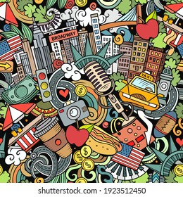 Cartoon doodles New York seamless pattern. Backdrop with American culture symbols and items. Colorful detailed, with lots of objects background for print on fabric, textile, greeting cards, phone case