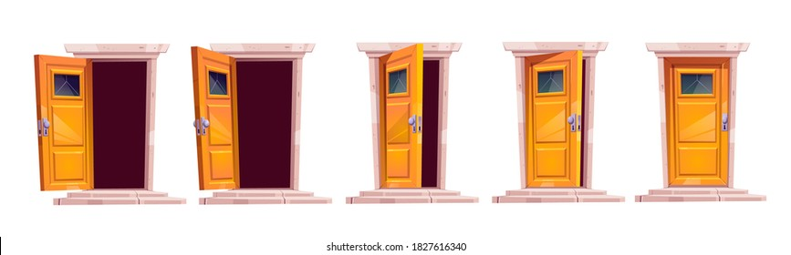 Cartoon door closing motion sequence animation. Open slightly ajar and close wooden doorways with stone stairs and darkness inside. Home facade design element, entrance. Vector illustration, icons set