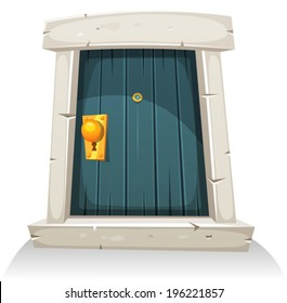 Cartoon Door/ Illustration of a cartoon comic little curved wood door with stone doorframe