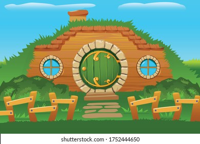 Cartoon doors composition with outside view of hobbit house built in hill side with round windows vector illustration
