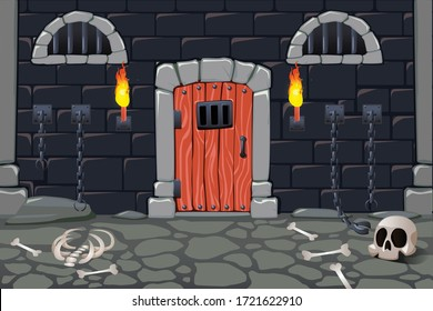 Cartoon doors composition with view of scary dungeon with torches human bones skull and chain fetters vector illustration