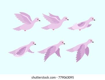 Cartoon dove animation. Vector illustration.