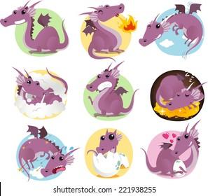 cartoon Dragon action set