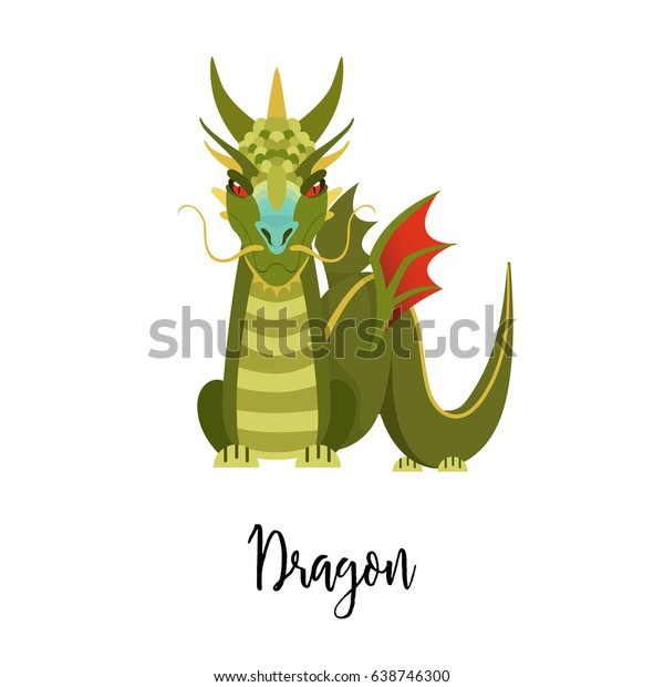 e9e3a0ce2 A cartoon dragon. Chinese horoscope, the year of the dragon. Isolated  illustration in