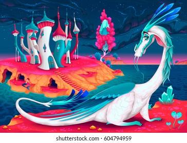 Cartoon dragon in a fantasy world. Vector illustration