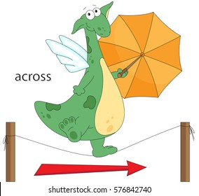 Cartoon Dragon Goes Across The Rope With Umbrella In His Hands English Grammar Pictures
