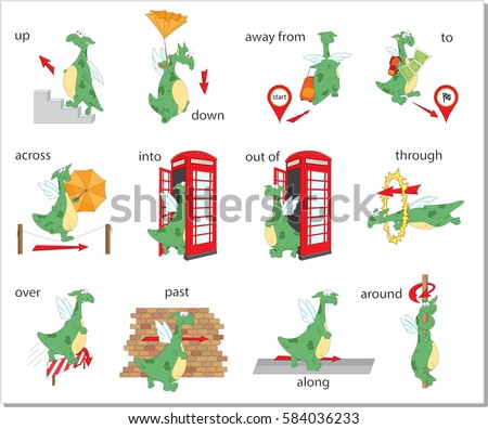 Cartoon Dragon Prepositions Of Movement Up Down Away From To Across