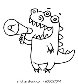 Cartoon dragon says in speakerphone. Vector illustration. Funny cute imaginary character.