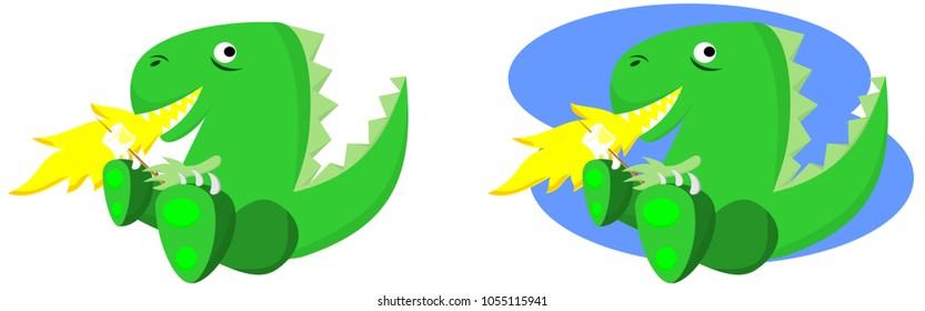 Cartoon dragon smiling vector illustration
