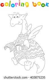 Cartoon Dragon In A Sweater Reads Book Coloring For Kids Isolated On White