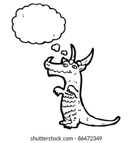 cartoon dragon with thought bubble