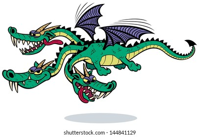 Cartoon Dragon: Cartoon three-headed dragon over white background. No transparency and gradients used.
