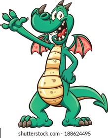 Cartoon dragon. Vector clip art illustration with simple gradients. All in a single layer.