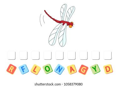 Cartoon dragonfly crossword. Put the letters in the correct order