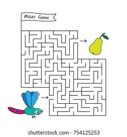 Cartoon dragonfly maze game. Funny game for children education