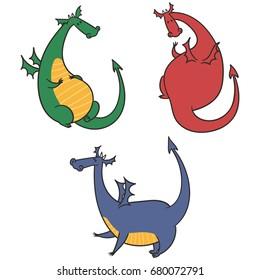 Cartoon Dragons Illustration
