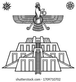 Cartoon drawing: ancient sacred Zikkurat, Image of Farvahar. Symbols of Babylon, Assyria, Mesopotamia. Template for use. Vector monochrome illustration isolated on white background.