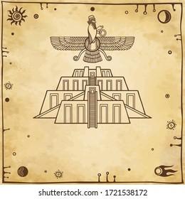 Cartoon drawing: ancient sacred Zikkurat, Image of Farvahar. Symbols of Babylon, Assyria, Mesopotamia. Space symbols. Background -imitation of old paper. Vector illustration.