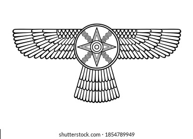 Cartoon drawing: ancient Sumerian symbol. Winged star. Marduk, Shamash, Ishtar. Vector illustration isolated on a white background.