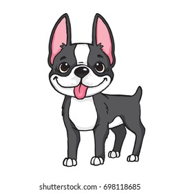Cartoon drawing of a black and white Boston Terrier's face. Vector file.