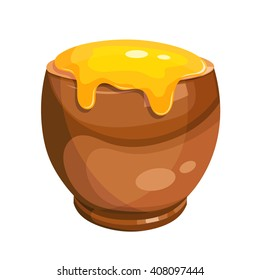 Cartoon drawing of a clay pot with honey. Vector illustration
