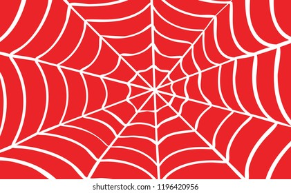 Cartoon drawing cobweb on red background. Flat vector spider pictogram. Happy halloween party. spooky, Creepy, horror insect. Accident, fear, scary for man and woman, superhero. Webbing line pattern.
