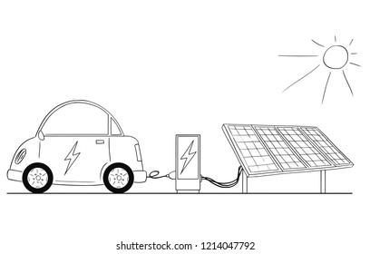 Cartoon drawing conceptual illustration of electric car recharging at charging station by power from solar power plant .
