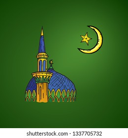 Cartoon drawing of a crescent moon with a star over an Islamic mosque with minaret and onion dome for Ramadan and Eid Fitr concept. Vector illustration.