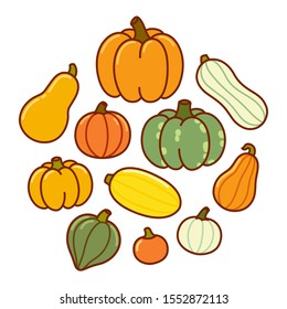 Cartoon drawing of different types of pumpkin and squash. Autumn harvest vegetables, vector hand drawn doodle style illustration.
