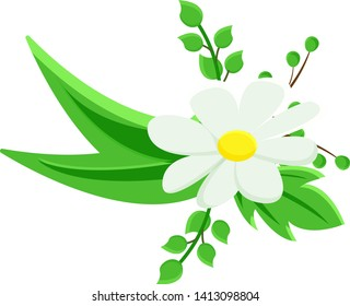 Cartoon drawing flower bouquet with white flower