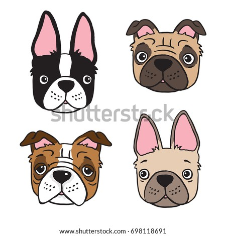 Cartoon Drawing Four Dog Faces Boston Stock Vektorgrafik Lizenzfrei