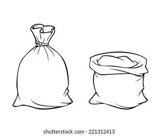 Cartoon drawing of full burlap sack