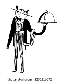 Cartoon drawing of funny cat waiter dressed up in tuxedo