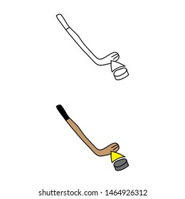cartoon drawing of a hockey stick and a puck