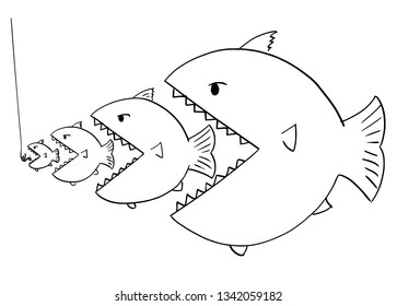 Cartoon drawing or illustration of line of fish, bigger is eating smaller ones, metaphor of business competition or food chain in nature.