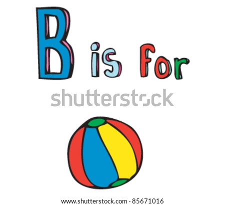 cartoon drawing letter b ball stock vector royalty free 85671016