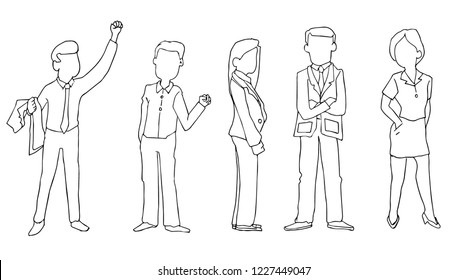 cartoon drawing outline vector. business people in drawing character or cartoon sketch
