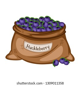 Cartoon Drawing of a Sack with Huckleberry Isolated on White Background. Berries in a Big Brown Bag Vector Illustration