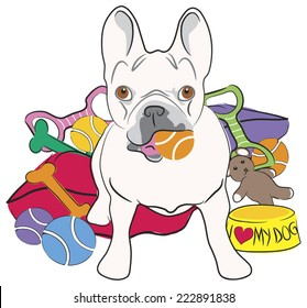 Cartoon drawing of a seated French Bulldog with tennis ball in mouth surrounded by toys, beds, and bowl.
