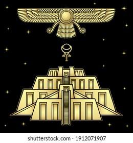 Cartoon drawing: symbol of prophet Farvahar, Ancient Zikkurat, moon sign . Vector gold illustration isolated on a dark background.